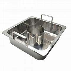 Cooking pan with Central pot & divider into 3 pars (3 tastes)hot pot cookerware