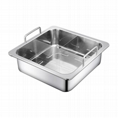 Stainless steel Square Basin separated into T-style hot pot Cooking Utensils