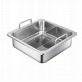 Stainless steel Square Basin separated into T-style hot pot Cooking Utensils 2