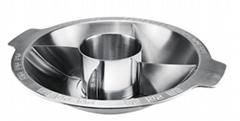 廚具不鏽鋼子母四格火鍋 (五味)火鍋店酒樓用具適應商用電磁爐