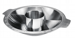 S/S hot pot with Central pot & 4 partition Available induction Cooker
