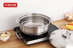 砂河烹饪炊具汤锅/鸳鸯火锅不锈钢椰子鸡火锅可用瓦斯炉电磁炉