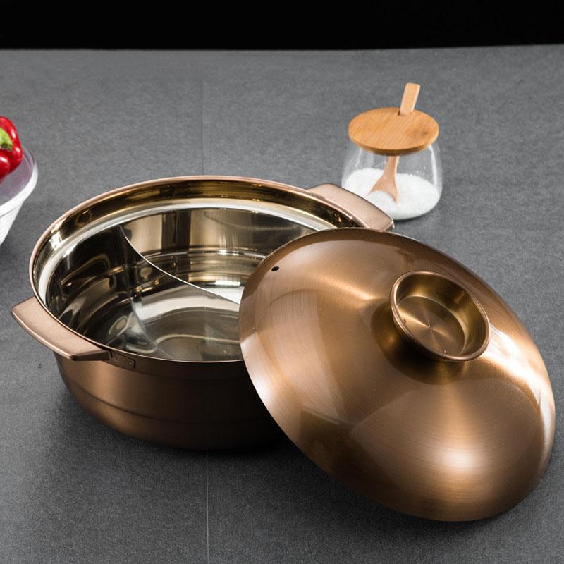 砂河烹飪紫銅色不鏽鋼鴛鴦火鍋適應電磁爐瓦斯爐使用火鍋店用具 1
