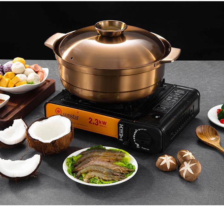 砂河烹飪紫銅色不鏽鋼鴛鴦火鍋適應電磁爐瓦斯爐使用火鍋店用具 3