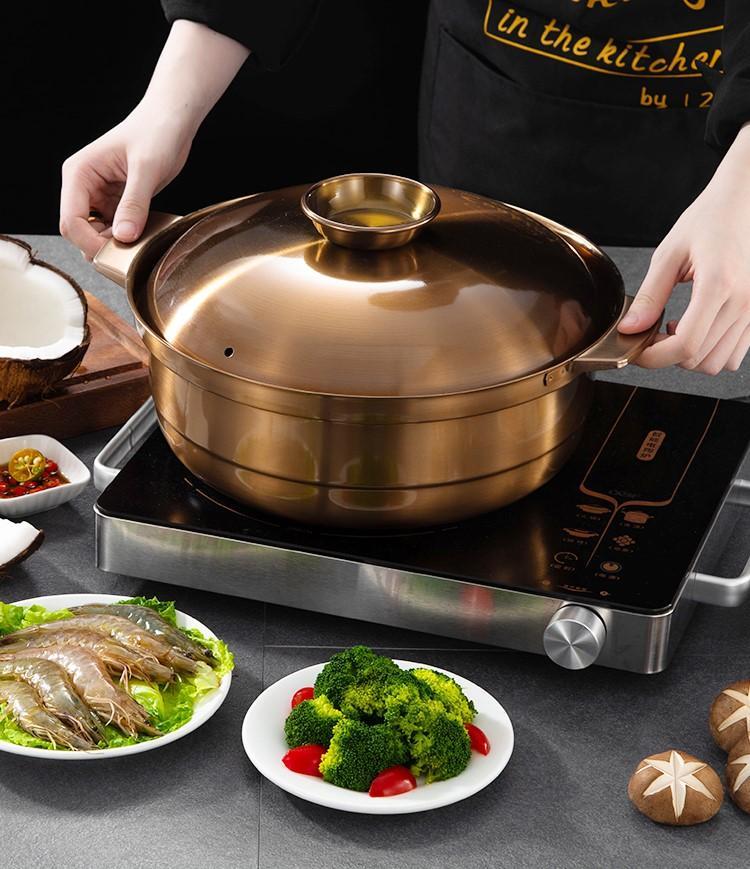 砂河烹飪紫銅色不鏽鋼鴛鴦火鍋適應電磁爐瓦斯爐使用火鍋店用具 4