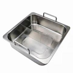 砂河方形烹饪鸳鸯火锅不锈钢鸳鸯火锅适应燃气炉商用电磁炉使用