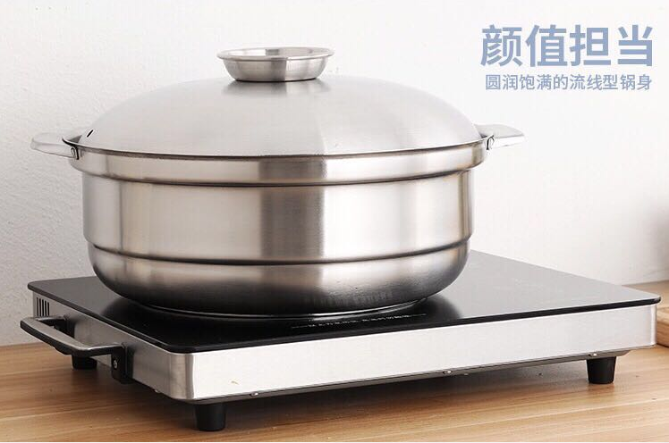 S/S hot pot thickened coconut chicken pot Available gas stove induction cooker 2