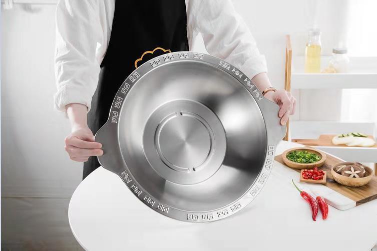 砂河廚具不鏽鋼寬邊連體火鍋26cm家用餐廳炊具適應燃氣爐電磁爐使用