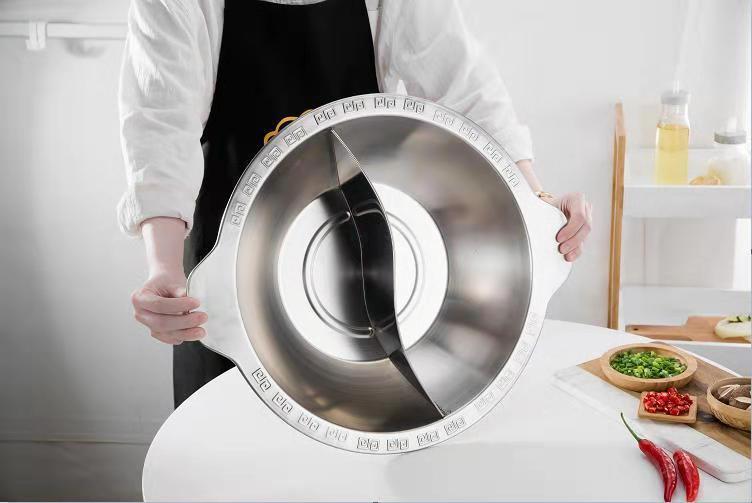 砂河廚具不鏽鋼寬邊連體火鍋26cm家用餐廳炊具適應燃氣爐電磁爐使用 2