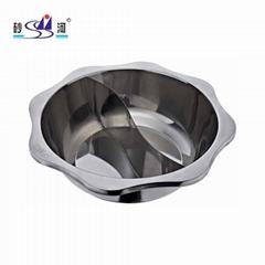 Cookware Stainless steel Sun shape yin yang hot pot for Hot pot Restaurant
