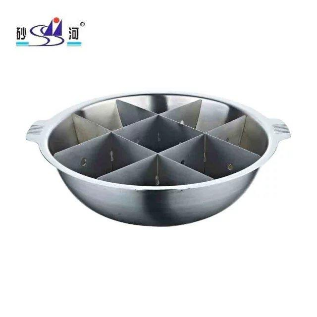 s/s hot pot with Nine Grids (Tic Tac Toe) Available Induction Cooker & gas stove 1