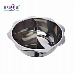 Kitchenware S/S pan divider into T-style 3 grids hot pot use for hot pot stores