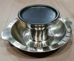 炊具26cm不鏽鋼寬邊燒烤火鍋酒樓賓館火鍋店用具適應燃氣爐使用