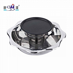 yin yang pan with BBQ grill 2 layer hot pot use for Radiant-cooker summer sales