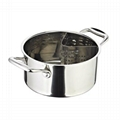 stainless steel stock pot with separation slag baffle for hot pot