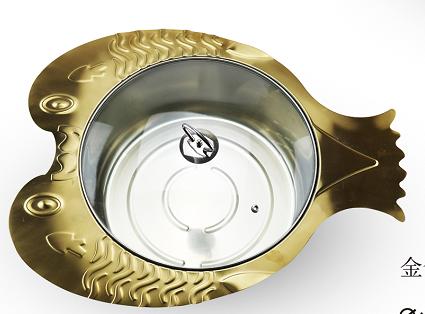 不锈钢鱼锅鱼形火锅外观专利产品可用燃气炉和电磁炉 2