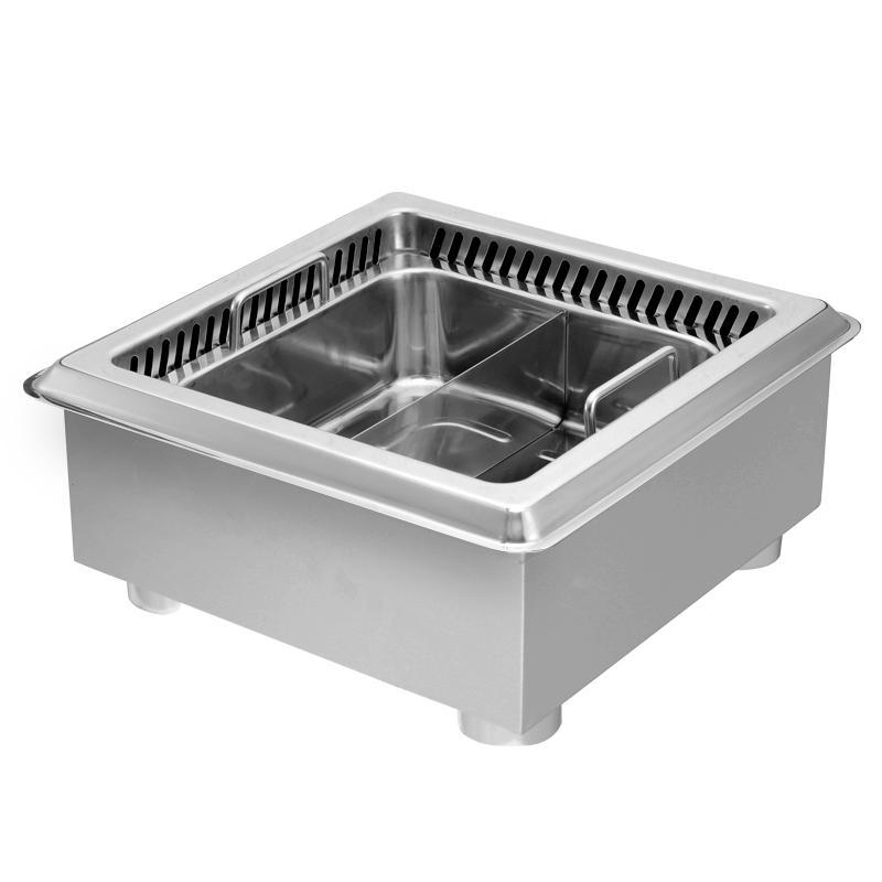 不锈钢方形嵌入式内置电磁炉火锅适用于火锅餐厅使用 1