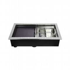 2合1火锅+烧烤餐饮设备嵌入式内置接受小批量购买