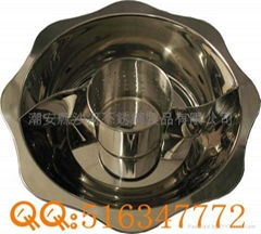 Stainless steel pot with partition 2 grids hot pot  with inner pot