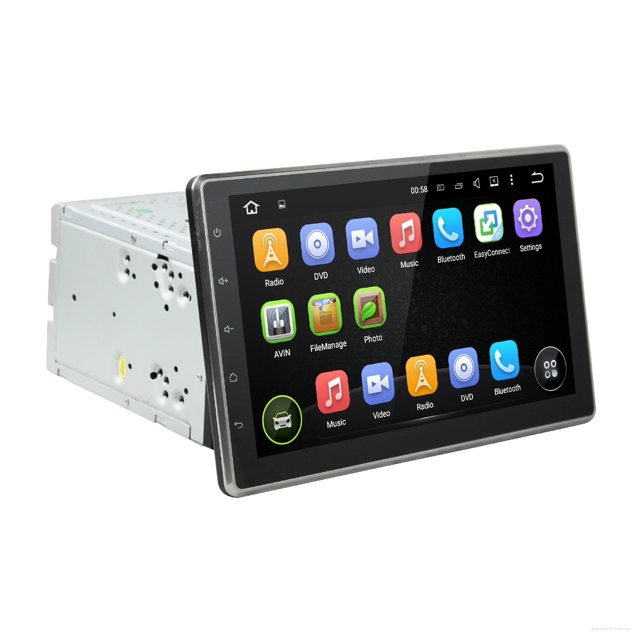 DVD car android with 10.1 inch touch screen and slide down monitor 1