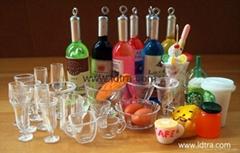 doll house mini glass cups bowl tea set pan fork scoop