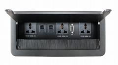 L0211帶毛刷掀蓋式桌面插座/鋁拉絲毛刷線盒/桌面插座