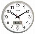 TG-0227镀银双显LCD办公室挂钟