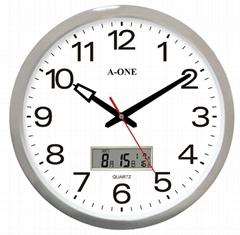 TG-0227鍍銀雙顯LCD辦公室掛鐘