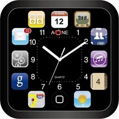 TG-0594  I-4手機圖方形掃描掛鐘