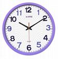 TG-0261 超靜音立體貼字造型掛鐘(紫)