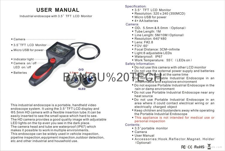 Video industrial endoscope with 3.5in monitor 5