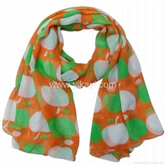 polyester voile scarf with apple print