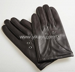 ladies leather gloves with eyelets decoration