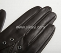 ladies leather gloves with eyelets decoration 3