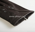 ladies leather gloves with eyelets decoration 4