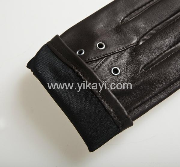 ladies leather gloves with eyelets decoration 5