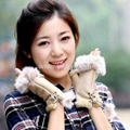 faux suede leather gloves with cony hair