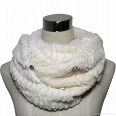 ladies fashion polyester velvet infinity scarf