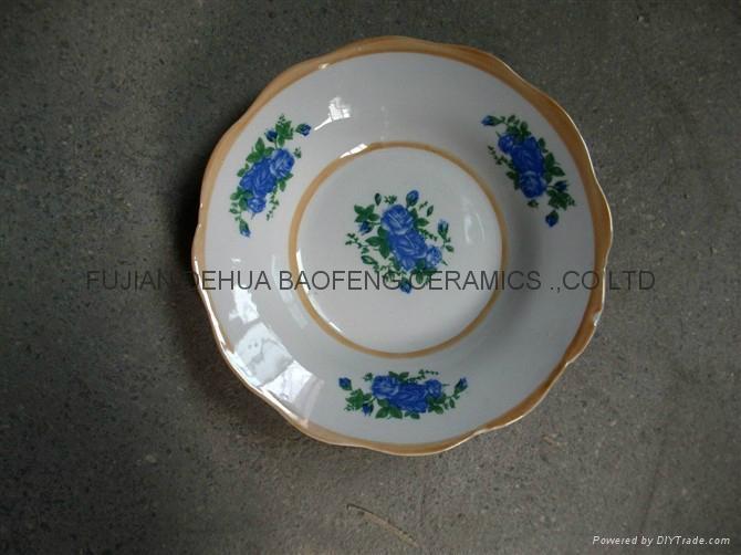 Printing Porcelain Ceramic Salad Bowl With Gold Line, Ceramic Bowls 5