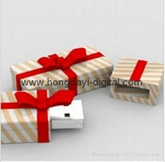 Christmas Gift Box Shaped USB Flash Drive Memory stick pen drive(HDY-SDJ03)