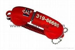 Custom telephone receiver Shape USB Flash Drive Memory stick pen drive (PVC47)