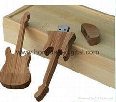 Wooden Guitar Shaped  USB Flash Drive Memory stick pen drive (HDY-MT08)