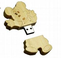 Wooden Disney Mickey Mouse Shape USB Flash Drive/ Memory Stick/ Pen Drive(H-MT22