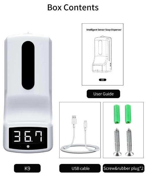 Wall mounted hand temperature measurement K9 thermometer sensor liquid soap disp 2