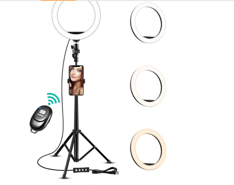 Taiworld 10 Inch Led Selfie Photography Dimmable Selfie Ring Light with 1.6M Tri 3