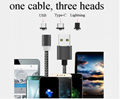 Mobile Phone Straight Magnet Data Cable 3 In 1 Magnetic Fast Charging Usb Data  3