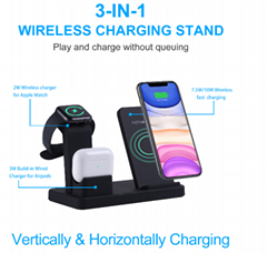 3 In 1 Smart Portablei Phone Holder Watch Fast Wireless Charging Station Pad