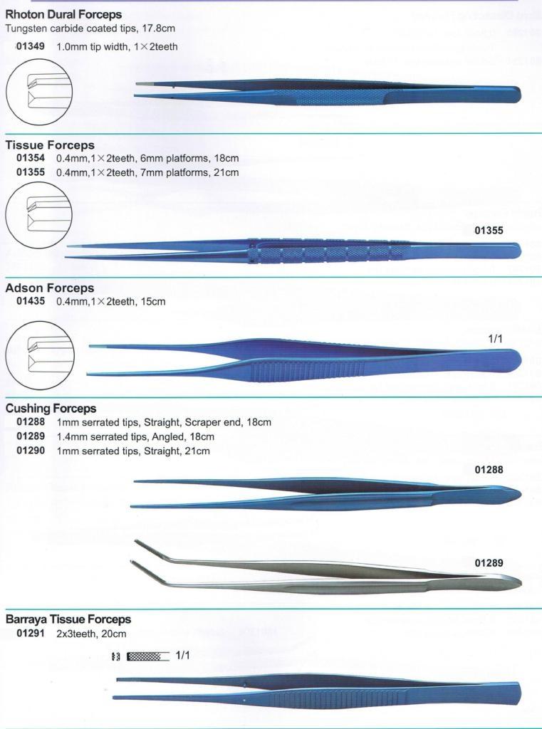 Tissue Forceps(DeBakey,Gerald, Dual,Rhoton, Cushing, Barraya)