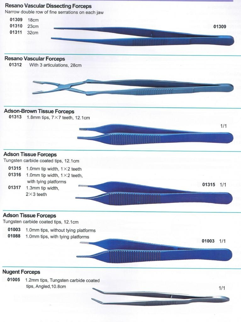 Tissue Forceps(Dissecting, Graefe,Resano,Adson,Nugent)