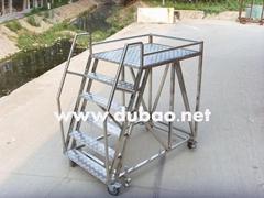 不锈钢扶手移动低护栏宽平台梯1.5